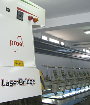 LaserBridge Inline Embroidery Machine Laser Cutter from BITO