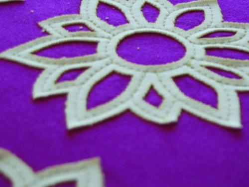 Emb Sample TanFlower Purple Fabric